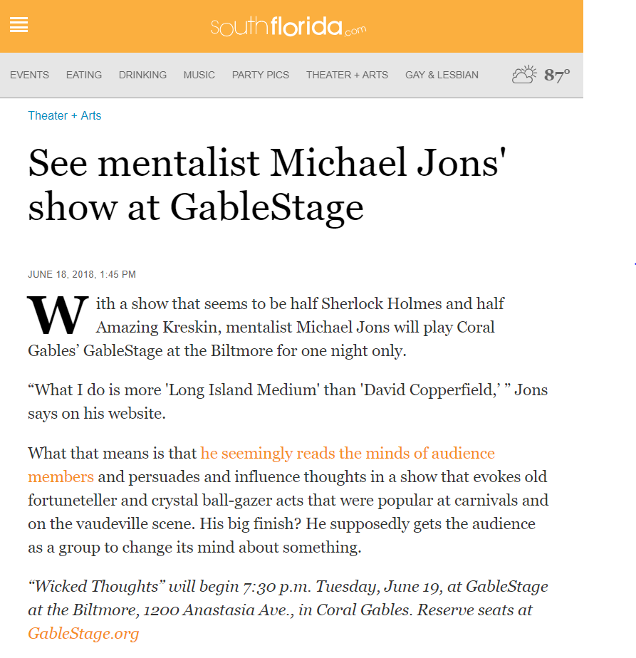 Michael Jons Wicked Thoughts at GableStage Miami